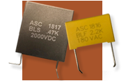 ASC Capacitors self-healing double-sided metallized polyester film electrodes BLF (Board Level Filter) and BLS (Board Level Snubber) Capacitor Series, non-inductive wound